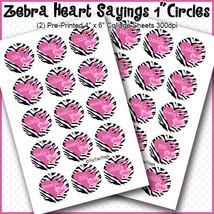 """PRINTED / PRECUT: Zebra Heart Sister Sayings Bottle Cap 1"""" Circles - 30 ... - $1.80+"""