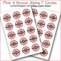 "PRINTED / PRECUT: Pink & Brown Polka Dot Alpha Bottle Cap 1"" Circles - 3... - $1.80+"