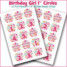 "PRINTED / PRECUT: Birthday Girl Polka Dot Bottle Cap Set 1"" Circles - 30... - $1.80+"