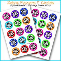 "PRINTED / PRECUT: Zebra Flower Colorful Bottle Cap Set 1"" Circles - 30 I... - $1.80+"