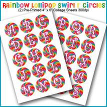 "PRINTED / PRECUT: Rainbow Lollipop Alphabet Bottle Cap 1"" Circles - 30 I... - $1.80+"
