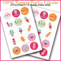 PRINTED / PRECUT: M2MG Popsicle Party Bottle Cap Set 1 Inch Circles - 30... - $1.80+