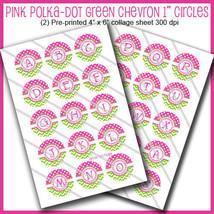 """PRINTED / PRECUT: Colorful Polka-Dot & Chevron Bottle Cap 1"""" Circles - 3... - $1.80+"""