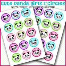 "PRINTED / PRECUT: Cute Colorful Panda Girls Bottle Cap 1"" Circles - 30 I... - $1.80+"