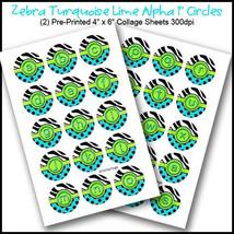 "PRINTED / PRECUT: Zebra Turquoise Alphabet Bottle Cap Set 1"" Circles - 3... - $1.80+"