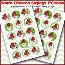 "PRINTED / PRECUT: Santa Chevron Leopard Sayings Bottle Cap 1"" Circle - 3... - $1.80+"