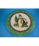 """Debbie Mumm Sakura Stoneware Christmas 8"""" Plate Penguins - $6.92"""