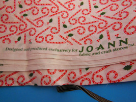 "FABRIC CHRISTMAS RED and WHITE CANDY CANES JOANN'S 44"" X 2 1/3 yards - $10.39"