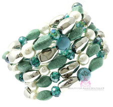 Beauty for Ashes Chunky Cabo Turquoise Pearl Silver Coil Bold Fashion Br... - $18.95