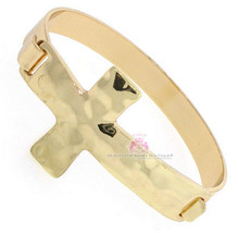 Beauty for Ashes Gold Hammered Metal Cross Believer Christian Cuff Bracelet - $10.09