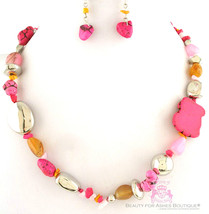 Rustic Stone Hot Natural Silver Strand Acrylic Pink Rock Beaded Necklace Set - $9.97
