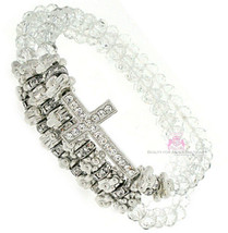 Beauty for Ashes Silver Beaded Crystal Cross Stretch Layering Bracelet - $24.95