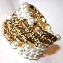 Beauty for Ashes Chunky White Pearl Gold Bead Coil Dressy Wide Fashion B... - $6.73