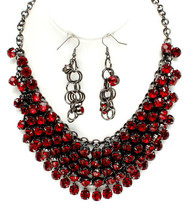 Chunky Dressy Prom Glam Ruby Cascading Hematite Red Crystals Bib Necklace Set