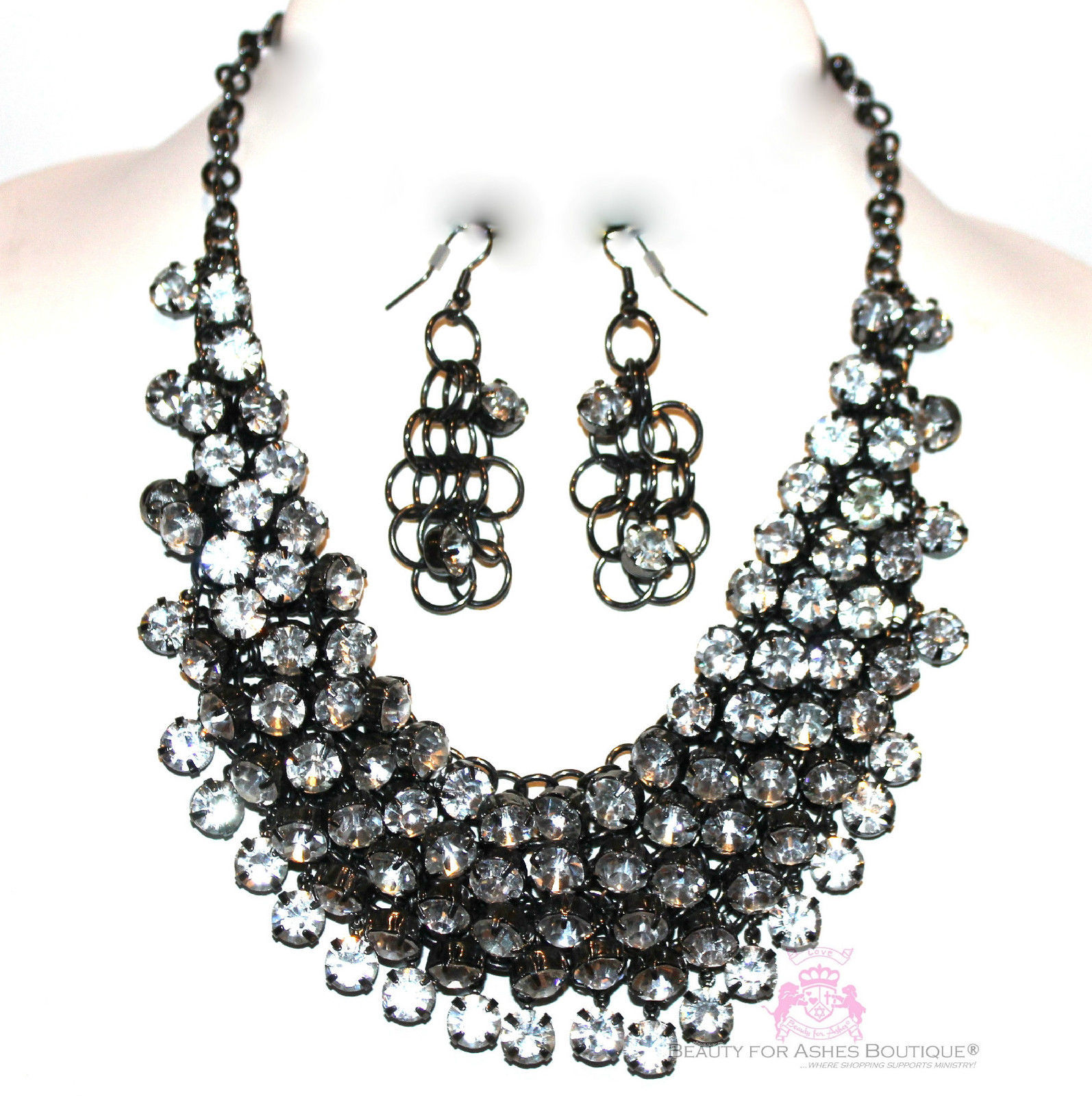 Chunky Womens Dressy Clear Prom Cascading Hematite Crystals Bib Necklace Set