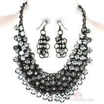 Chunky Womens Dressy Clear Prom Cascading Hematite Crystals Bib Necklace... - $39.97
