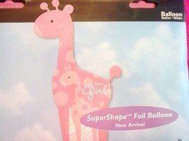 "PINK GIRAFFE FOIL BALLOON  "" IT'S A GIRL ""  42 INCHES HIGH - NEW- ANAGRAM - €9,93 EUR"