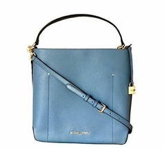 Michael Kors Hayes Large Bucket Shoulder Bag Denim 35F8GYEL3L - $199.99