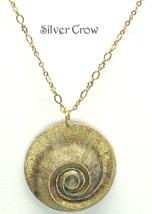 Brass Shell Gold Glitter Pendant Necklace - $18.99