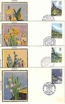 GB 1979 4 FDC SILK WILD FLOWERS     5227RD - $5.94