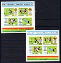 GHANA 1974 2 IMPERF S/S ARGENTINA WORLD CUP SOCCER 2ND O/P WINNER O/P 51... - $24.75