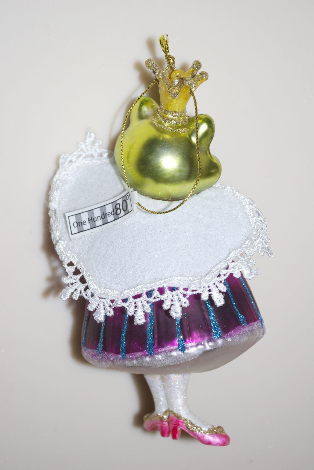 Royal Frog Princess Christmas Ornament, Blown Glass
