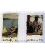 AUSTRALIA 578-9  USED PAINTINGS $10 + $ 5 FACE  2159MK - $169,49 MXN