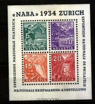 SWITZERLAND 1934 NABA S/S #226 VF MNH 11266x - $371.25