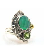 Sterling Silver 925 Green Emerald Quartz Indian Etnic Tribal Jewelry Ring Size 7 - $22.99