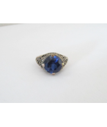 Vintage Sterling Silver Sapphire Filigree Ring Size 5.75 - $50.00
