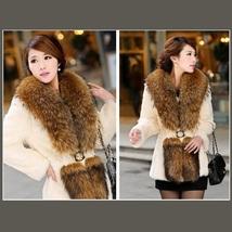 Luxury Dog Racoon Long Hair Fur Collar Mid Length Dyed Rex Rabbit Fur Coat  image 2