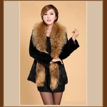 Luxury Dog Racoon Long Hair Fur Collar Mid Length Dyed Rex Rabbit Fur Coat  image 4