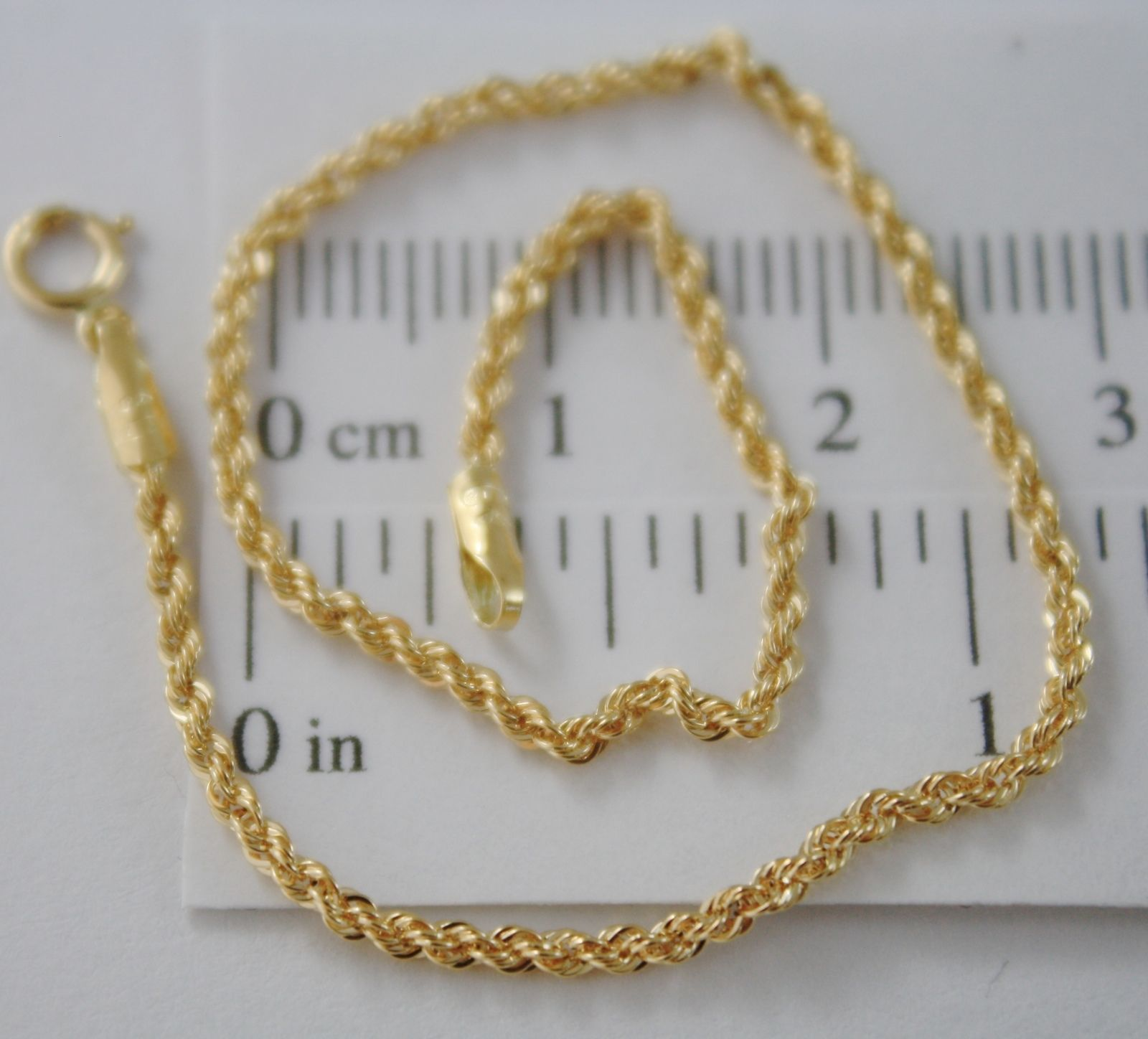 SOLID 18K YELLOW GOLD BRACELET, BRAID ROPE MESH, 7.30 INCH LONG, MADE IN ITALY