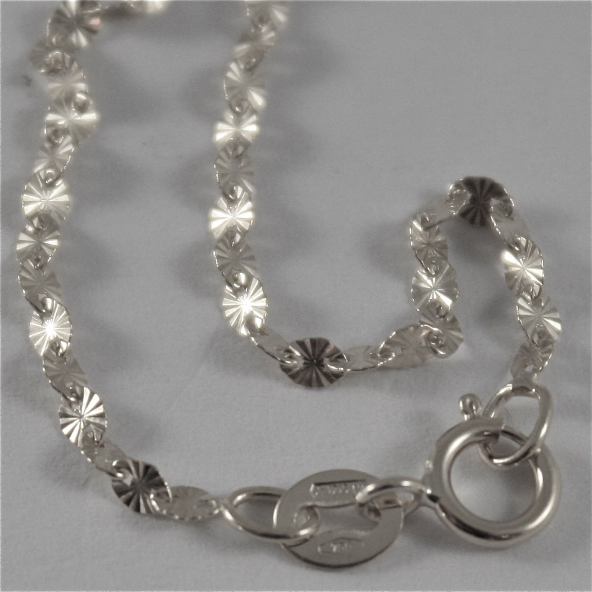 18K WHITE GOLD CHAIN MINI STAR RAYS OVAL LINK 2 MM, 15.75 INCHES MADE IN ITALY