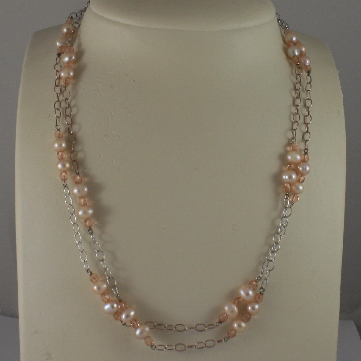 .925 SILVER RHODIUM AND ROSE GOLD PLATED NECKLACE WITH PINK PEARLS AND CRYSTALS