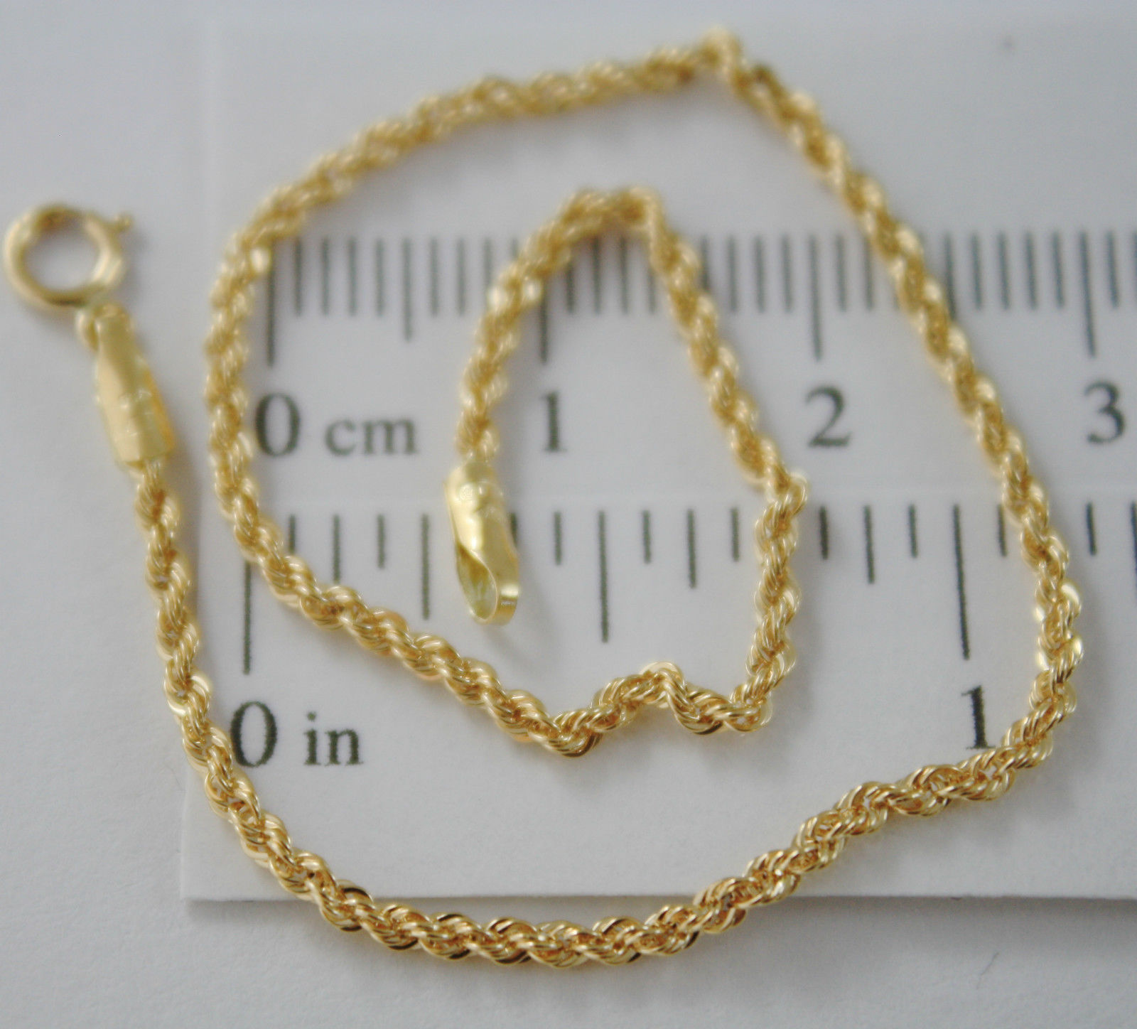 18K SOLID YELLOW GOLD BRACELET, BRAID ROPE 7.30 INCH LONG, MADE IN ITALY