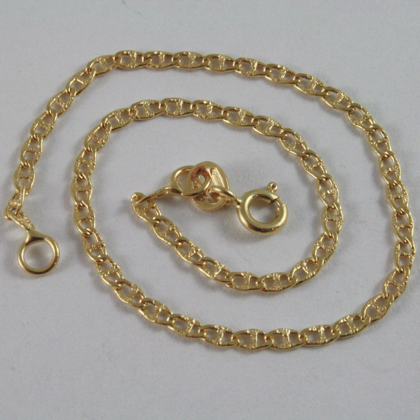 SOLID 18K YELLOW GOLD BRACELET WITH SAILORS NAVY BUBBLE MESH, MADE IN ITALY