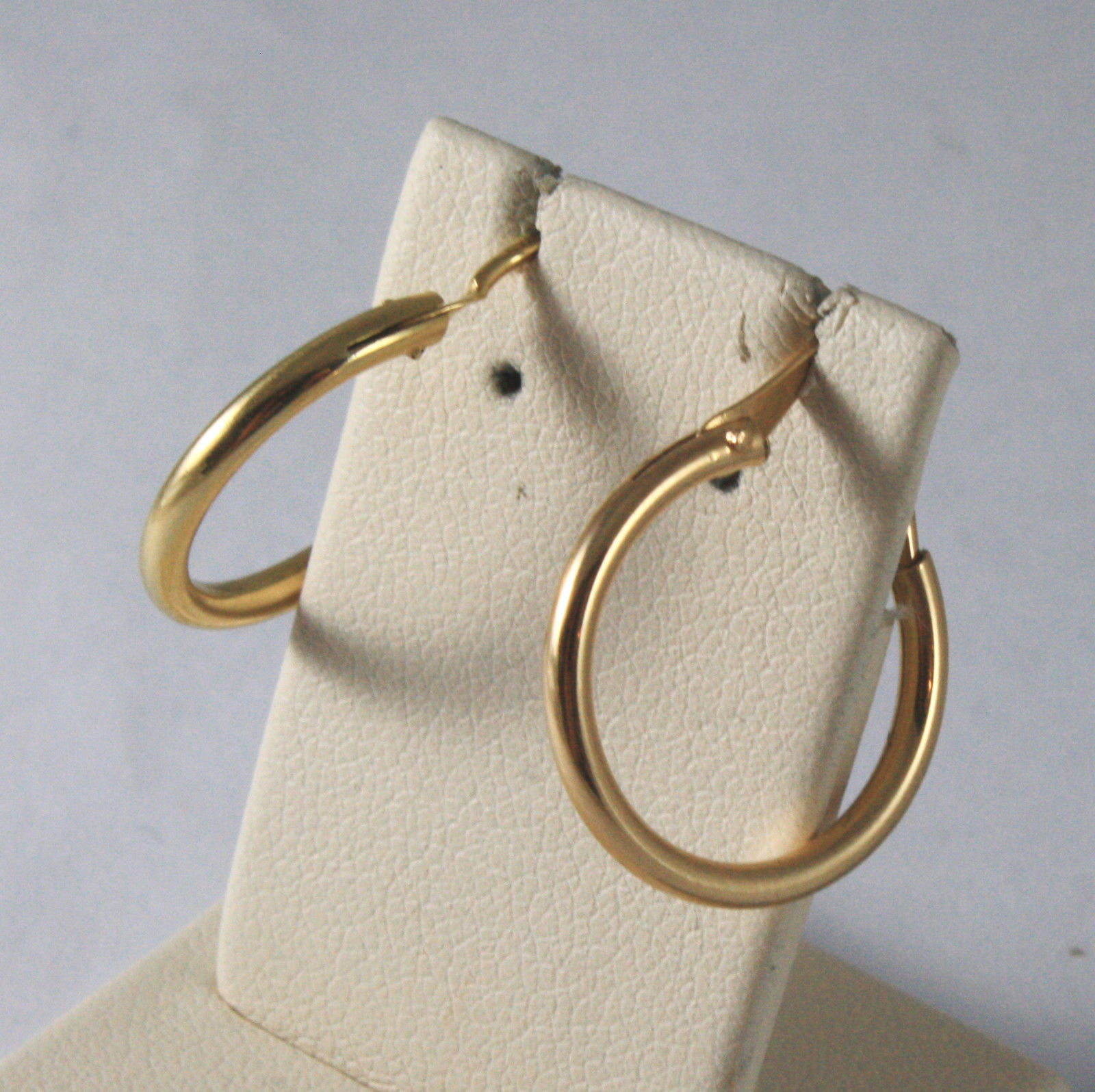 SOLID 18KT. YELLOW GOLD CIRCLE TUBE EARRINGS DIAMETER 0,67 IN MADE IN ITALY 18K