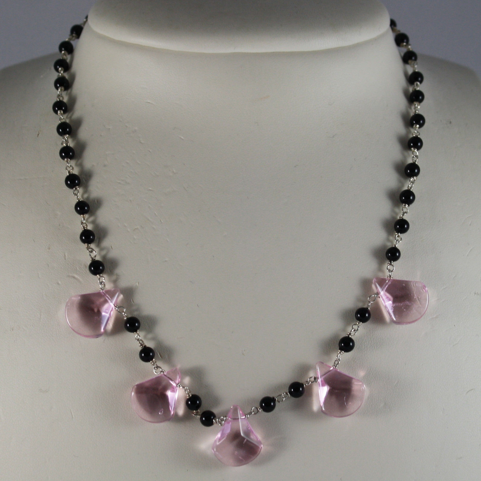 .925 SILVER RHODIUM NECKLACE WITH BLACK ONYX AND DROPS OF PINK CRISTAL