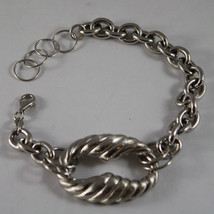 .925 RHODIUM SILVER BRACELET WITH WORKED OVAL image 1