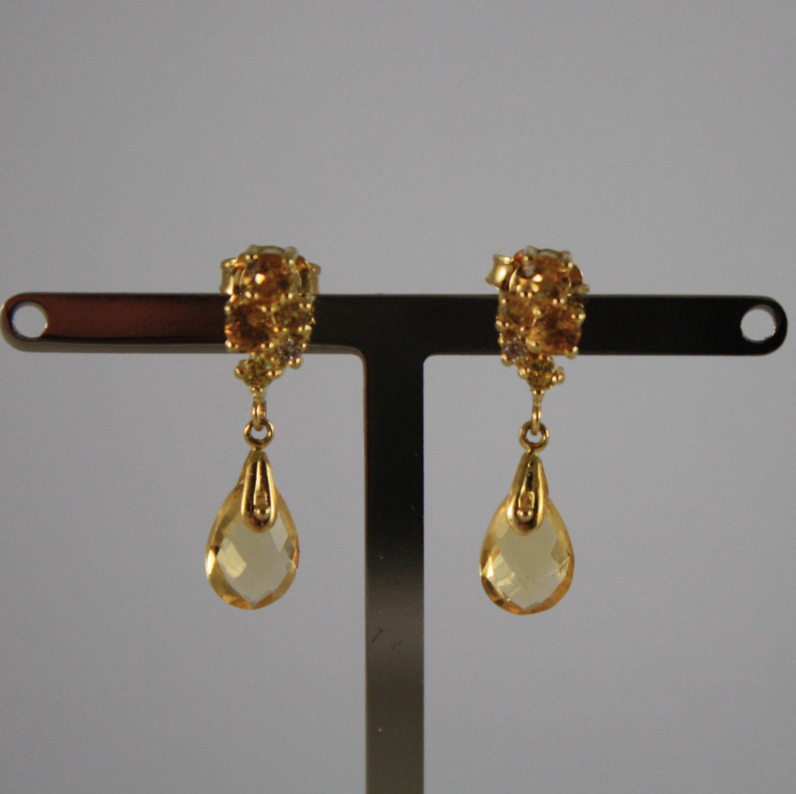 SOLID 18K YELLOW GOLD EARRINGS, WITH CITRINE QUARTZ AND ZIRCONIA, MADE IN ITALY
