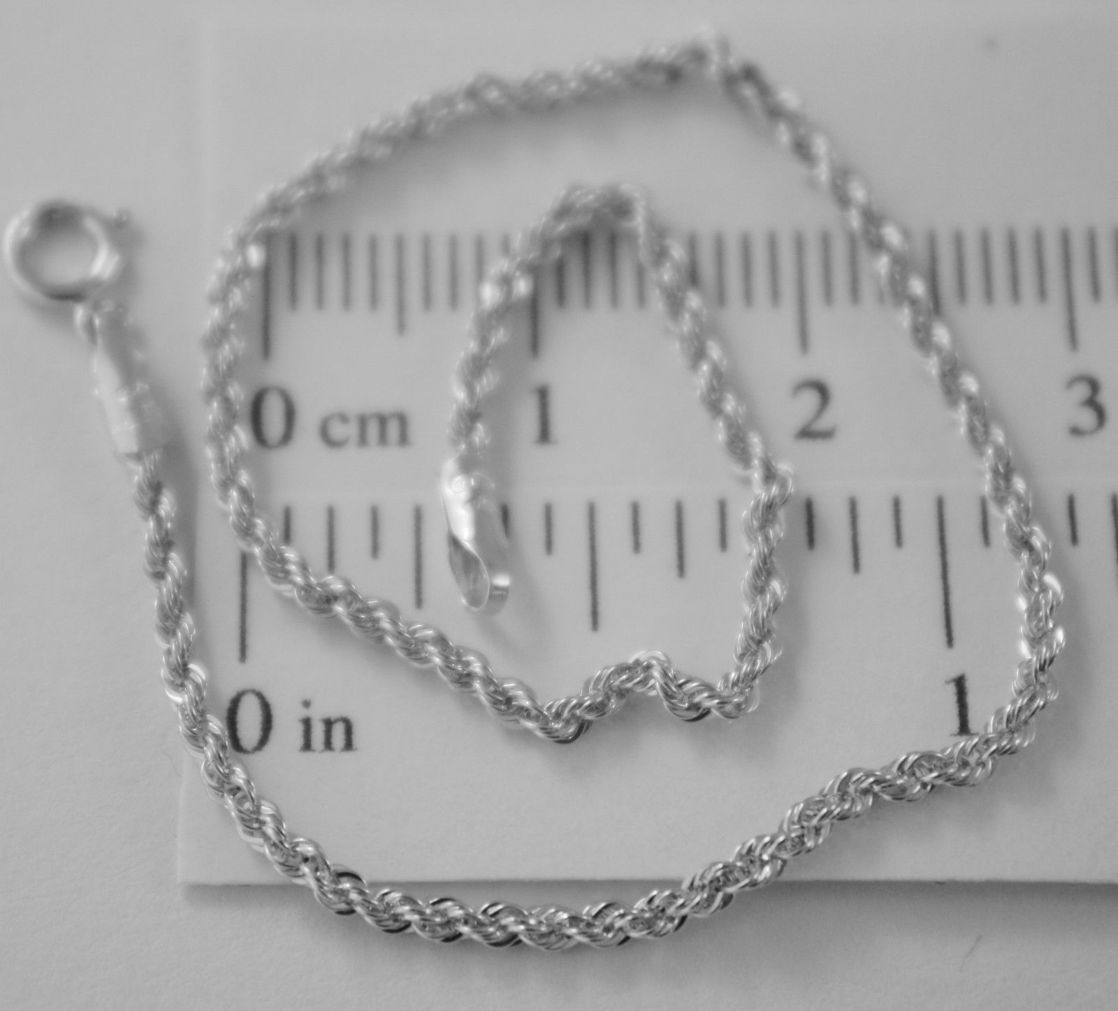18K WHITE GOLD BRACELET, BRAID ROPE 7.30 INCH LONG, MADE IN ITALY