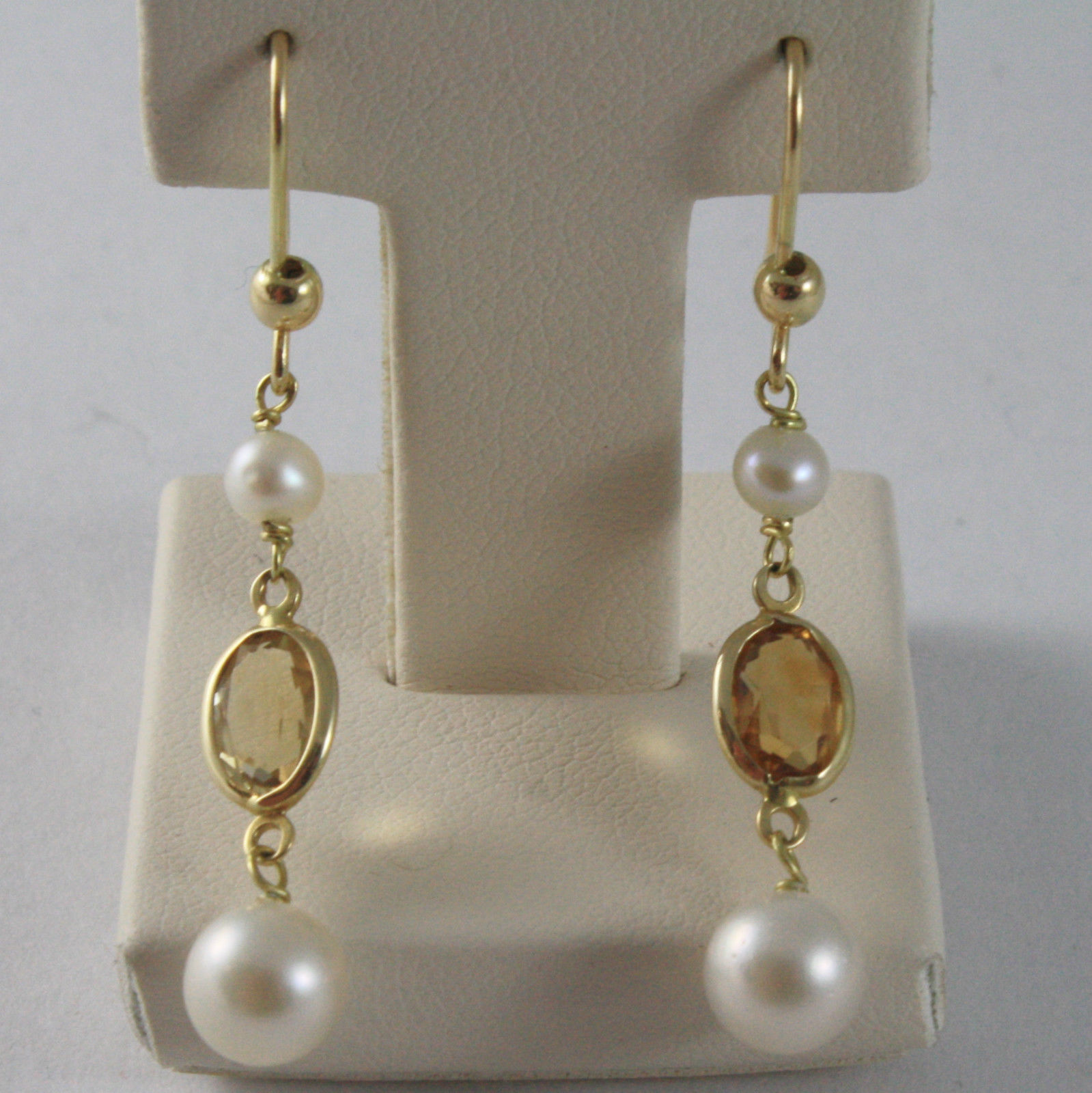 SOLID 18K YELLOW GOLD EARRINGS, YELLOW TOURMALINE, JAPANESE PEARL, MADE IN ITALY