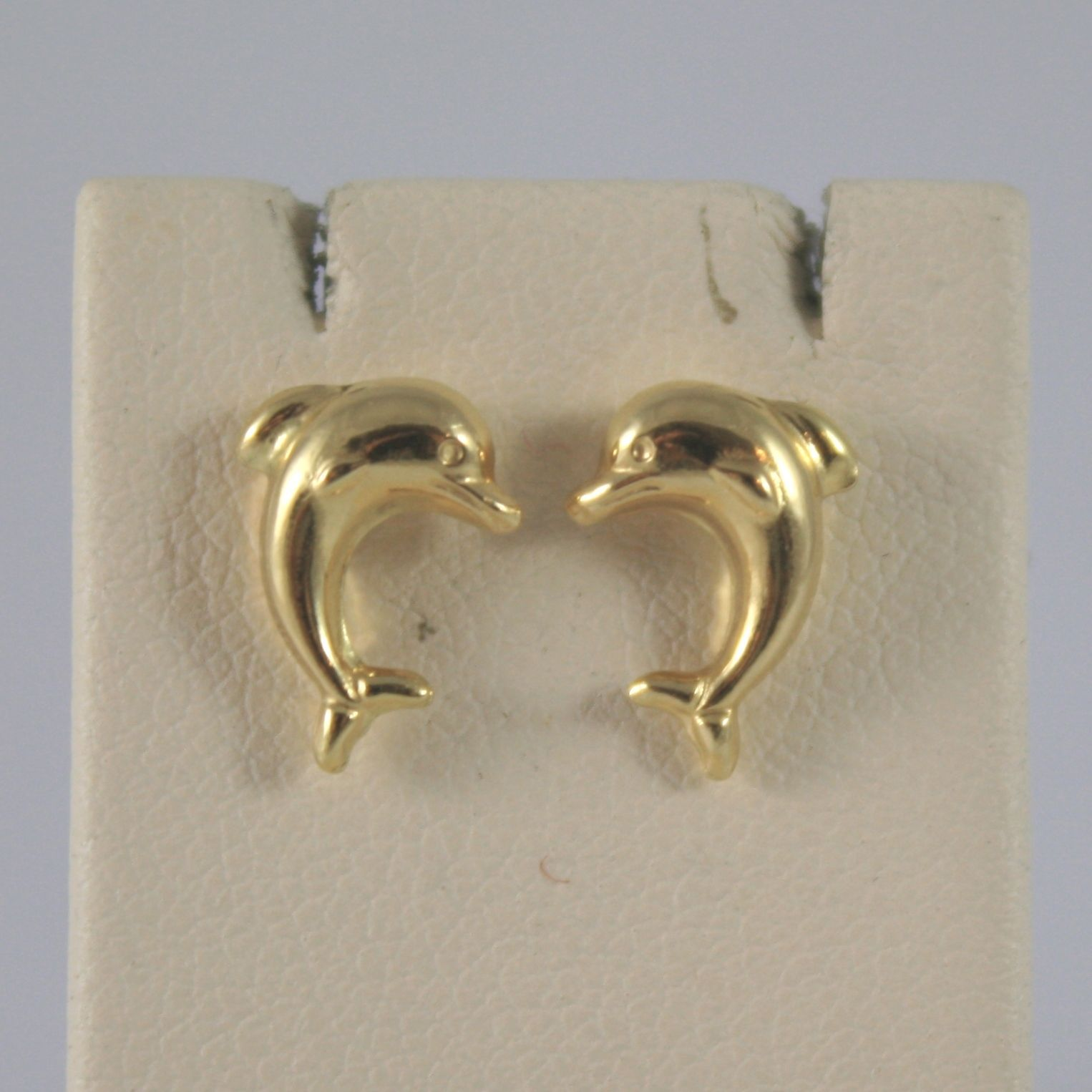 18K SOLID YELLOW GOLD EARRINGS WITH DOLPHINS LENGTH 0,39 IN MADE IN ITALY 18K