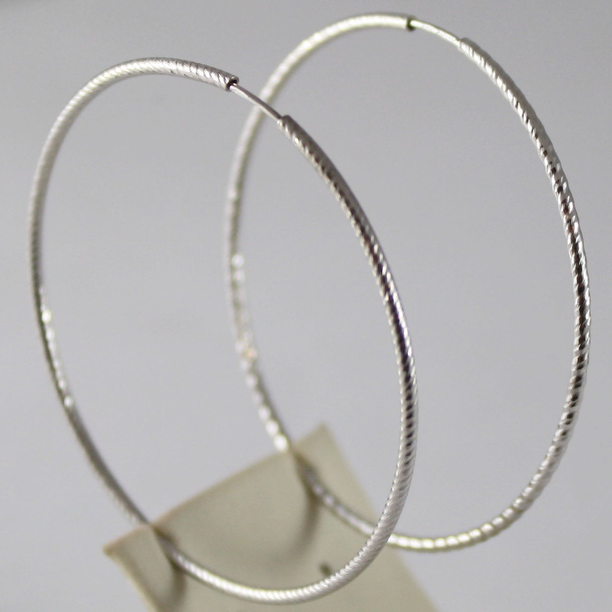 SOLID 18K WHITE GOLD CIRCLE EARRINGS HOOP, STRIPES, DIAM 1.69 In, MADE IN ITALY