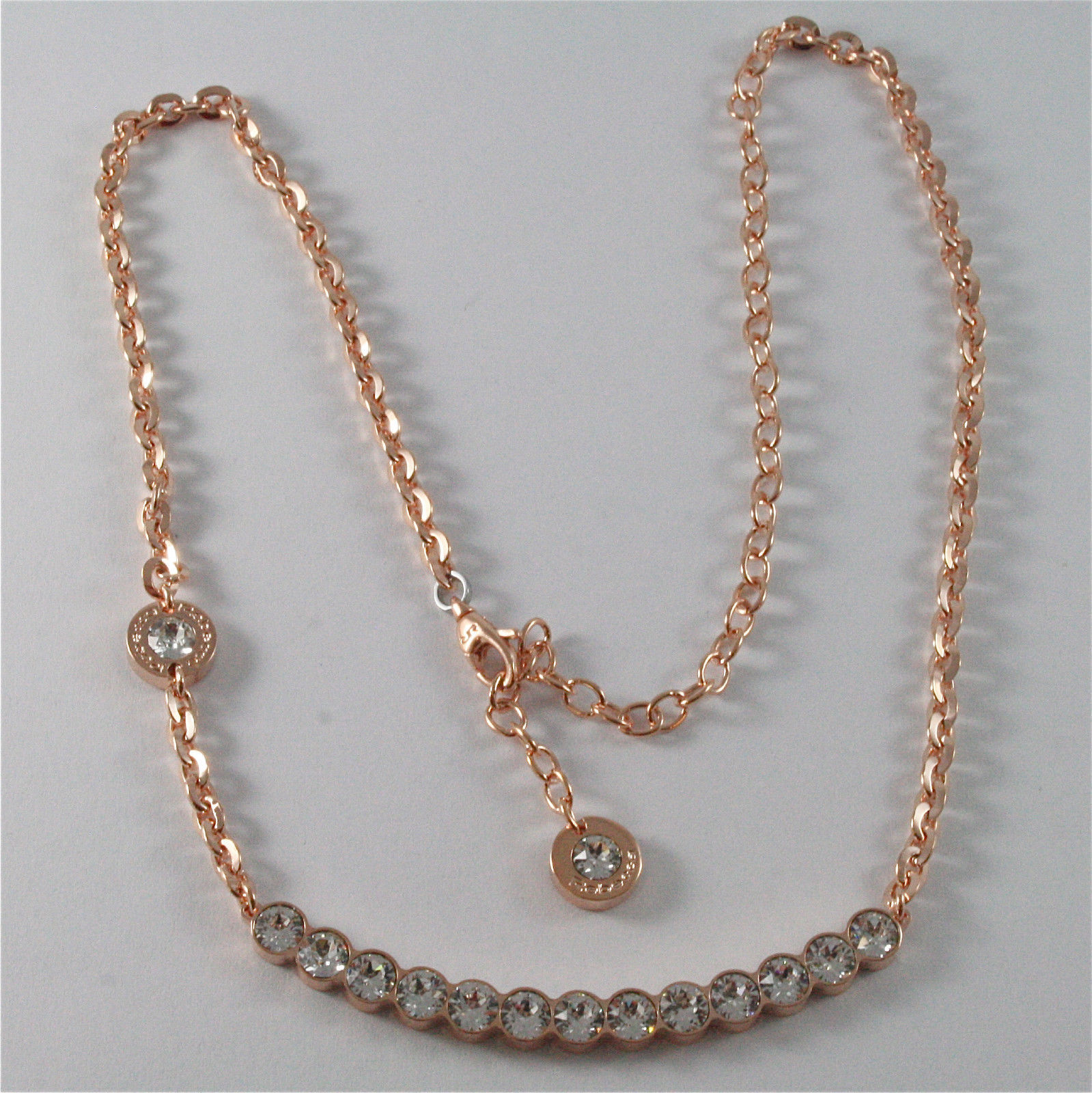 ROSE GOLD PLATED BRONZE REBECCA TENNIS NECKLACE BPBKRB14 MADE IN ITALY 18.90 IN