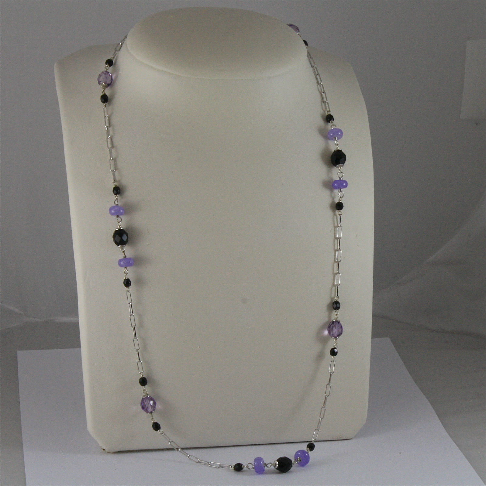 .925 SILVER RHODIUM NECKLACE 24,41 In, AMETHYST, BLACK ONYX, PURPLE CRYSTALS.