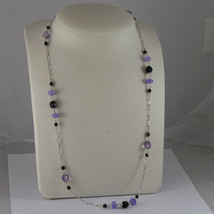.925 SILVER RHODIUM NECKLACE 24,41 In, AMETHYST, BLACK ONYX, PURPLE CRYSTALS. image 1