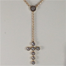 YELLOW GOLD PLATED BRONZE REBECCA ROSARY NECKLACE BPBKOB45 MADE IN ITALY 26.77