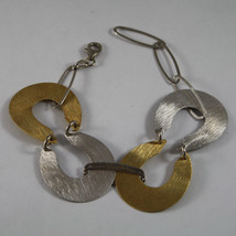 .925 RHODIUM SILVER AND YELLOW GOLD PLATED BRACELET WITH SATIN OVALS. image 1